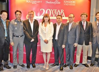 Nigel Cornick(3rd left), CEO of Kingdom Property, poses with dignitaries and officials at the announcement of the new Southpoint 20-year visa promotion during a press conference held at the Holiday Inn Pattaya, Wednesday, June 10.