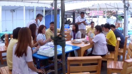 Chonburi Public Health Department officials inspect Paul Thai Food, finding no insecticide was used on the restaurant's fish.