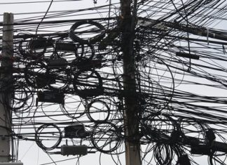 In Pattaya, cables go up, but it seems they never come down.