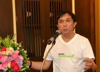 Jotun Regional General Manager Prasit Jaemprasertkul introduces the Jotashield AntiFade Colours line of paints.