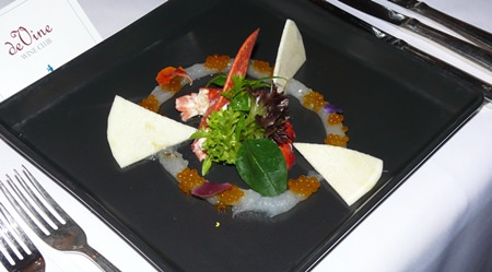 The first course of this dinner turned out to be the dish of the night for me: salad of poached Canadian Lobster with young coconut and palm heart on lemon dressing.