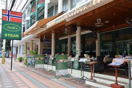 Linda's has a spacious porch for your dining pleasure.