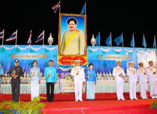 Vice Admiral Wipak Noyjinda, Commander of Sattahip Naval Base, leads the Mother's Day candle lighting activities on the occasion of Queen Sirikit's 83rd birthday.