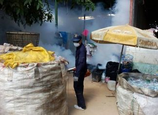 Pattaya Health Department sent out workers to spray insecticide to kill off dengue fever-carrying mosquitoes on Khopai Sois 13-14 and Soi Eaungfa.