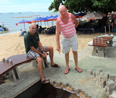 A sinkhole recently appeared along the Pattaya beach promenade.
