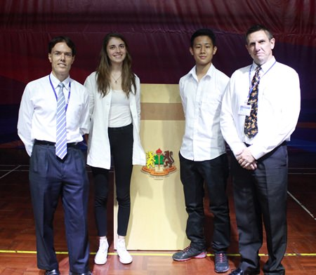 Head Girl Berenice and Head Boy Gear with IB Coordinator Mr Fraser (left) and GIS Principal Dr Stuart Tasker (right).