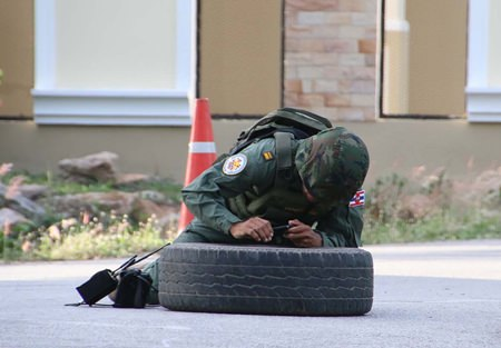 Lt. Ubon Klonsri risks life and limb to ensure the bomb is either diffused, or determined to be a fake.  Luckily it was the latter.