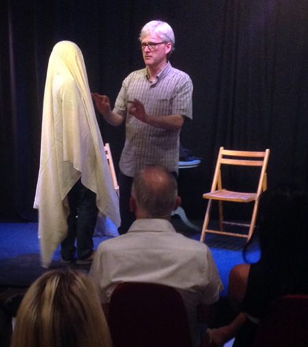 Daniel Foley interacts with a shockingly realistic ghost at Ben's Theatre in Jomtien. (Photo/Ben Hansen)