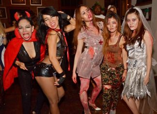 Some of the sexy/spooky devils and corpses seen at the Salsa Halloween party in the Holiday Inn Pattaya. Nowhere does Halloween better than Fun City, with the many entertainment venues and great party atmosphere here. This year didn't disappoint, as nearly the entire town was transformed into a ghoulish, frightening, crazy recreation of one big monster mash.