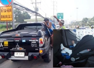 Rescue experts had to be called after a Pattaya mother locked her small child (inset) in her car, then lost the keys.