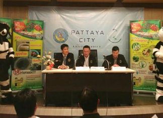 (L to R) City councilmen Banjong Banthoonprayuk and Ithiwat Wattanasartsathorn join Pattaya deputy spokesman Damrongkiat Pinitkarn to announce Pattaya's city and medical officials are stepping up their dengue fever awareness campaign.