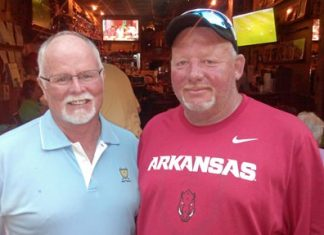 Dave Ferris (left) with Razorback fan Brian Carr back at TGC.