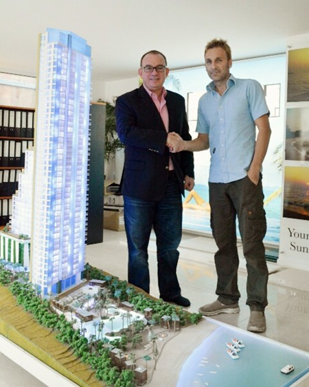 Mark Bowling, Associate Director, Head of Eastern Seaboard at Savills (Thailand) Limited (left) poses for a photo with Winston Gale, joint developer of The Palm, Wongamat Beach.