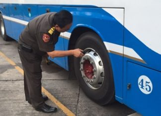 Safety officials have been inspecting tour buses in Pattaya to try and make sure they are in their best condition for the holiday travel period.