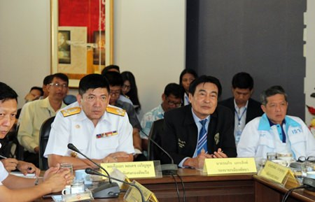 (L to R) Admiral Poldej Charoenpol, special advisor to the Royal Thai Navy Fleet, Deputy Mayor Ronakit Ekasingh, and Chanatpong Sriwiset, Pattaya deputy secretary, head the table during recent discussions about the possibility of an ASEAN Navy Fleet Show in November 2017.