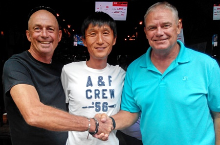 """Phil and Kenny congratulate """"The Student"""" Fred Birch (right)."""