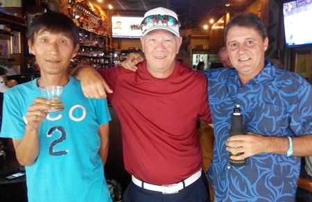 Kenny Aihara, Alan Rothwell and Mark Wood après golf at The Golf Club.