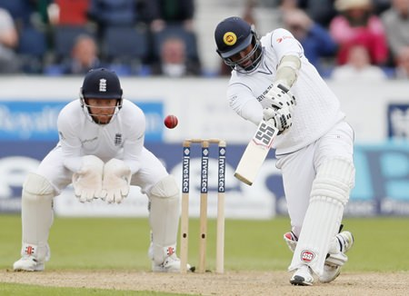 Sri Lanka's Angelo Mathews hits a six during day three of the Second Test Match at the Emirates Riverside, in Chester-Le-Street, England, Sunday May 29, 2016. (Owen Humphreys / PA via AP) UNITED KINGDOM OUT - NO SALES - NO ARCHIVES