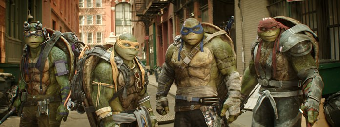 "This image shows, from left, Donatello, Michelangelo, Leonardo and Raphael in a scene from ""Teenage Mutant Ninja Turtles: Out of the Shadows."" (Lula Carvalho/Paramount Pictures via AP)"