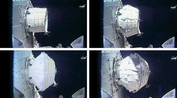 This combination of images provided by NASA shows the inflation of a new experimental room at the International Space Station on Saturday, May 28, 2016. (NASA via AP)