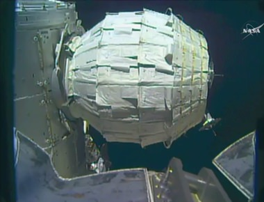 This image made from video provided by NASA shows the inflation of a new experimental room at the International Space Station on Saturday, May 28, 2016. Saturday was NASA's second shot at inflating the Bigelow Expandable Activity Module (BEAM), named for the aerospace company that created it as a precursor to moon and Mars habitats, and orbiting tourist hotels. (NASA via AP)