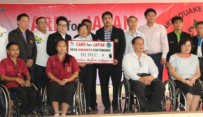 """The Chonburi Provincial Administrative Organization, Father Ray Foundation, Y.W.C.A. Bangkok Pattaya Center and local businesses raised nearly 194,000 baht to support earthquake victims in the recent """"Care for Japan"""" project."""