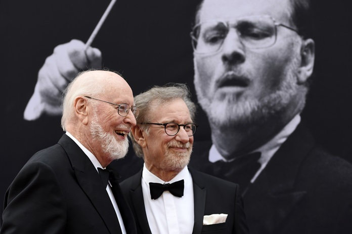 Composer John Williams (left) poses with filmmaker Steven Spielberg at the 2016 AFI Life Achievement Award Gala Tribute to Williams at the Dolby Theatre in Los Angeles, Thursday, June 9. (Photo by Chris Pizzello/Invision/AP)
