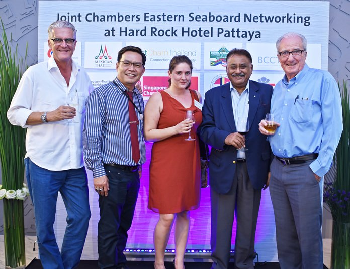 (L to R) Jo Klemm, marketing & advertising manager at Pattaya Blatt, Peerasan Wongsri, managing director at GO Property Thailand, Kate Manning, group commercial manager at Adelphi Digital Consulting Group, Peter Malhotra, managing director at Pattaya Mail and Dr. Iain Corness.