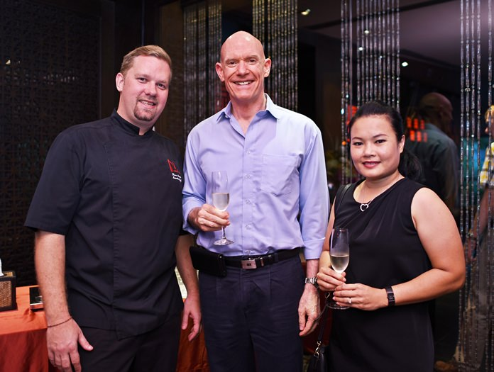 """Executive Chef Shaun Venter with Mark Hudson and Ubonjitr """"Min"""" Thamchop who attend every Wine Experience."""