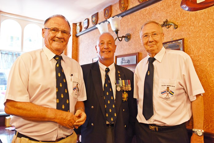 Royal British Legion Thailand Chairman Derek Brook, Standard Bearer Richard Holmes and RBL member Andy Barraclough.