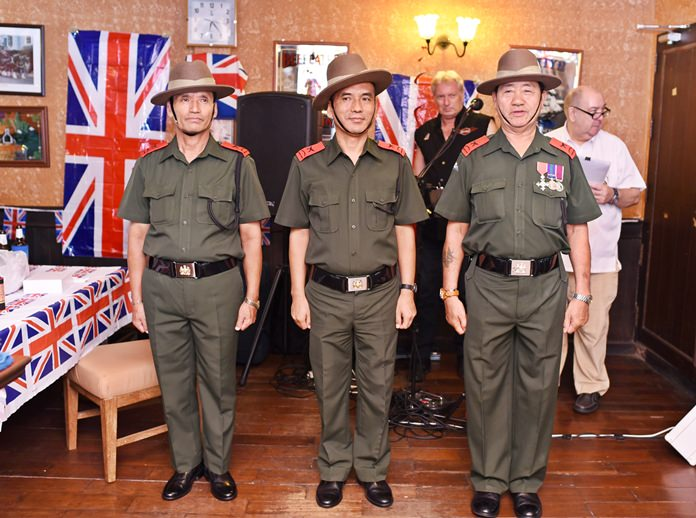 The Gurkha Guards from the British Embassy, including Sgt Major Haring Lal Pun (right).