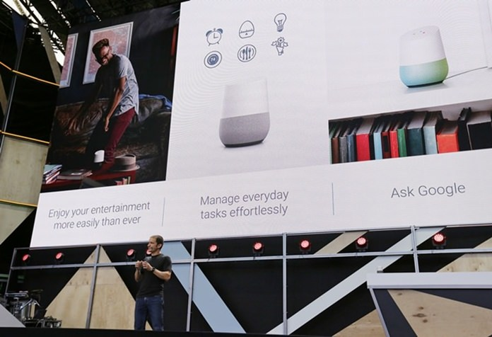 Google vice president Mario Queiroz talks about the uses of the new Google Home device during the keynote address of the Google I/O conference, Wednesday, May 18, 2016, in Mountain View, Calif. (AP Photo/Eric Risberg)