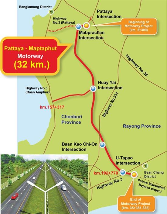 Map of the new Chonburi-Pattaya-Maptaphut motorway.