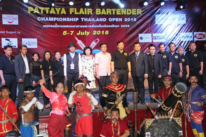 Officials and entertainers prepare to kick off the Pattaya Flair Bartender Championship Thailand Open 2016.