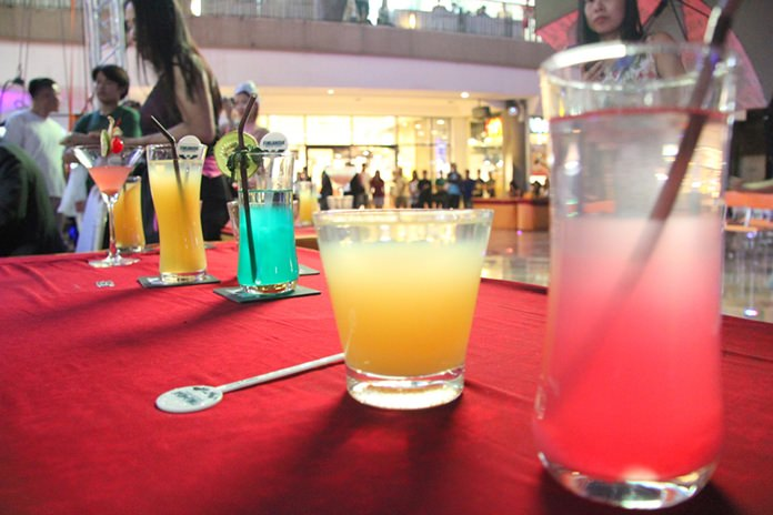 Lining up the drinks to be judged.
