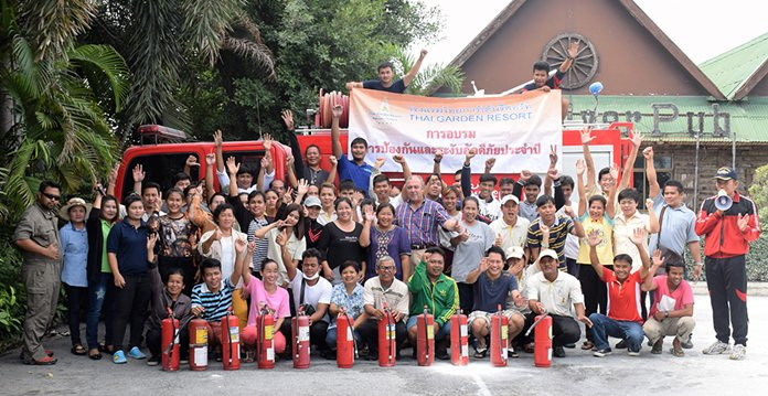 On Monday, July 4th, the Thai Garden Resort held its annual fire prevention training in cooperation with the Pattaya City Fire Department.