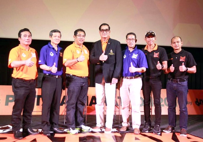 Pattaya city and tourism officials along with race organizers pose for a group photo at the press conference to promote the King's Cup Pattaya Marathon 2016 at the Esplanade Cineplex in Bangkok, July 2.