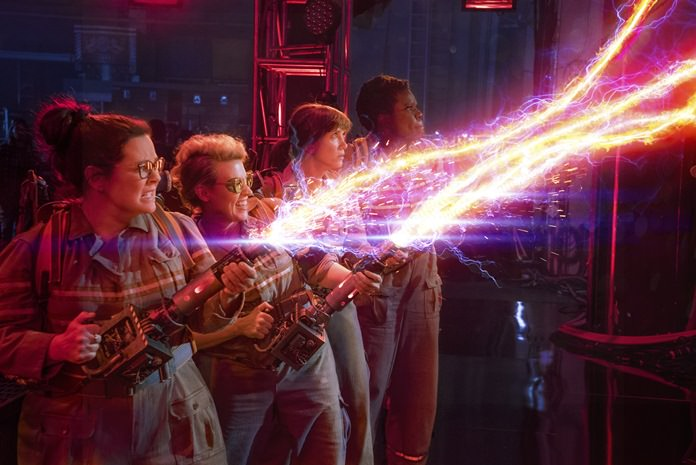 """From left, Melissa McCarthy, Kate McKinnon, Kristen Wiig and Leslie Jones appear in a scene from, """"Ghostbusters."""" (Sony Pictures via AP)"""