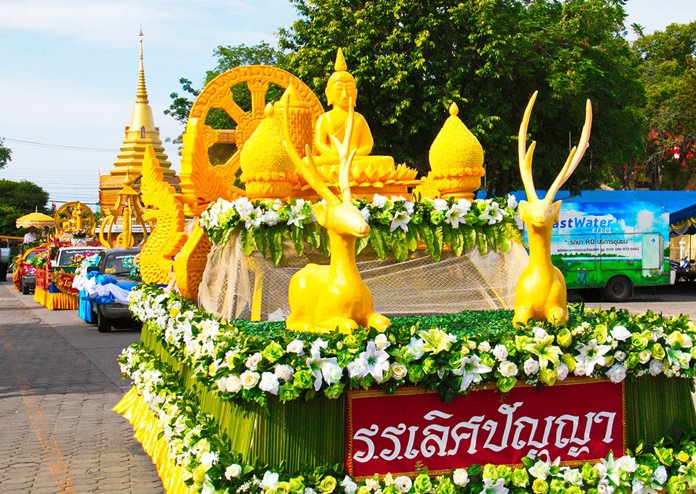 In Sattahip, the district's parade competition was participated in by 46 groups at Sattahip Temple. The procession followed a route around the temple and was considered one of the biggest candle parades in the area.