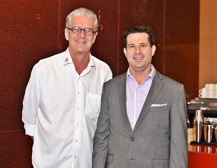 Jo Klemm, Executive Assistant Manager International Marketing Green Orange Media Co., Ltd., with Hayden Edgtton, General Manager of the Mövenpick Siam Hotel Pattaya.