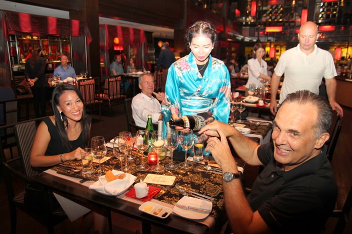 Six varieties of sake are served to match the Japanese cuisine.