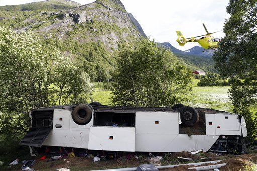 1 killed, 2 seriously injured when bus skids off Norway road