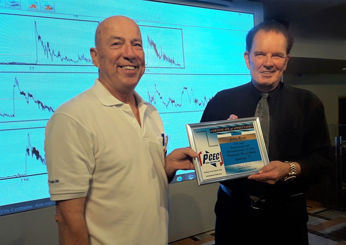MC Roy Albiston (left) presents the PCEC's Certificate of Appreciation to John W. Ryan (right) for his informative talk about his interesting background and his demonstration of the FVSA.