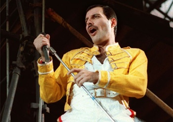 Queen lead singer Freddie Mercury is shown during the band's Magic Tour in this July 20, 1986 file photo. (AP Photo/Marco Arndt)