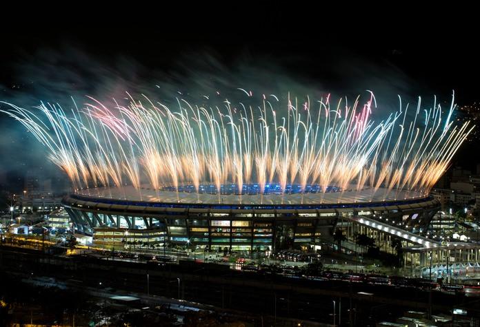 Fireworks explode above the Maracana stadium during the closing ceremony for the Summer Olympics in Rio de Janeiro, Brazil, Sunday, Aug. 21. (AP Photo/Felipe Dana)
