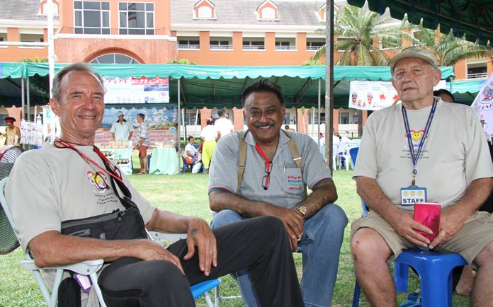 (L to R) Woody Underwood, Peter Malhotra and Bernie Tuppin enjoy a moment of rest in the shade.