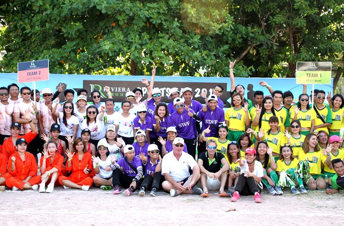 Participating teams pose for a group photo on Riviera Sports Day.
