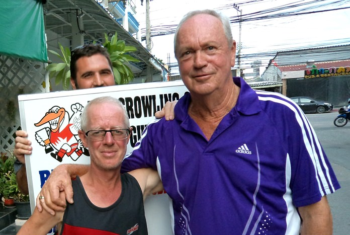 Shane Young with Martin Todd and Tom McMahon (stood behind).