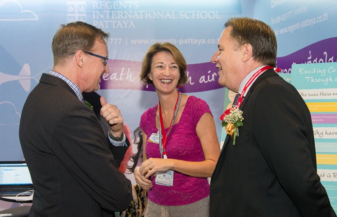 Joanna Kearney, Director of Admissions & Marketing introduces Regents International School to H.E. British Ambassador Brian Davidson (left) and British Chamber of Commerce Thailand Chairman Simon Matthews (right) at Thai-UK 2016.