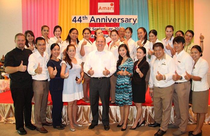 Management and staff of the Amari Pattaya celebrate the hotel's 44th anniversary in Pattaya.